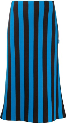 Sunnei Striped Cotton Midi Skirt