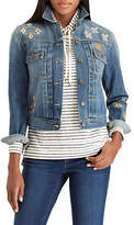 Chaps Petite Embroidered Denim Jacket