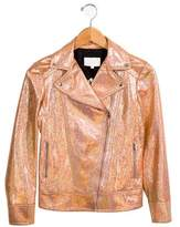 Gucci Girls' Leather Moto Jacket w/ Tags