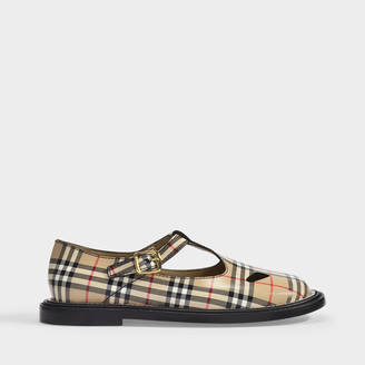 Burberry Hannie Ballerinas In Archive Beige Checked Leather