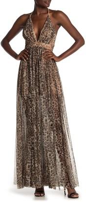 Meghan La Enchanted Garden Leopard Print Maxi Dress