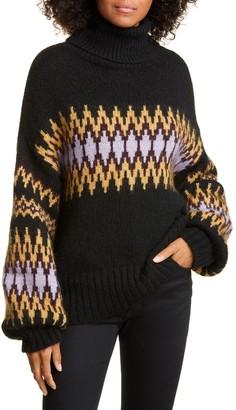 A.L.C. Tracey Diamond Stripe Oversize Alpaca Blend Sweater