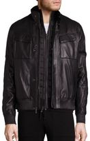 Michael Kors Racer Leather Bomber Jacket
