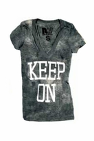 Rebel Yell Keep on Keeping On Skinny V Tee in Deep Teal