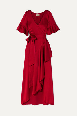 Temperley London Grace Satin Wrap Midi Dress - Red