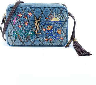Saint Laurent Lou Monogram Quilted Embroidered Denim Crossbody Camera Bag