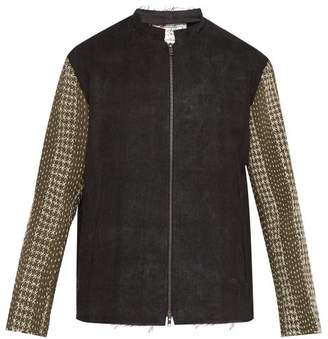 By Walid Embroidered Panel Zip Through Linen Jacket - Mens - Black Green