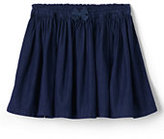 Classic Toddler Girls Gathered Chambray Skirt-Dark Blue Rinse