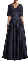 Rickie Freeman For Teri Jon Half-Sleeve Lace Combo Gown, Navy