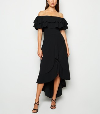 New Look Missfiga Ruffle Trim Bardot Midi Dress