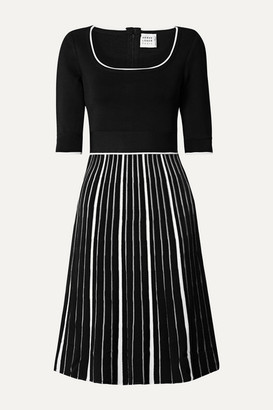 Herve Leger Striped Stretch-knit Dress - Black
