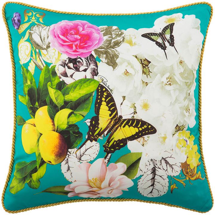 Roberto Cavalli Blaze Silk Bed Cushion - Teal - 40x40cm