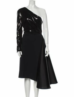 Greta Constantine One-Shoulder Midi Length Dress Black