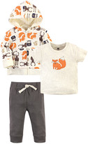 Hudson Baby Boys' Casual Pants Forest - White & Orange Forest Creatures Crewneck Tee Set - Toddler & Boys