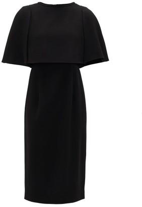 Goat Cape-bodice Wool-crepe Dress - Black
