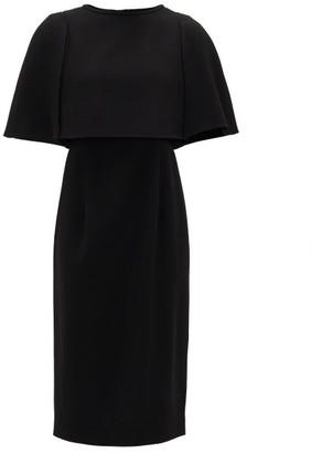 Goat Cape-bodice Wool-crepe Dress - Womens - Black
