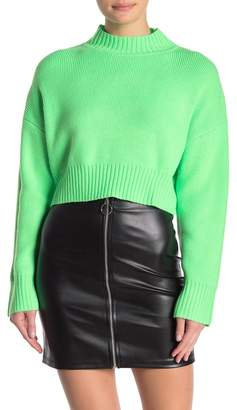 Wild Honey Ribbed Mock Neck Cropped Neon Sweater