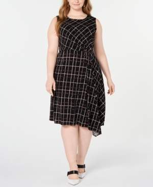 Alfani Plus Size Printed Asymmetrical Dress, Created for Macy's