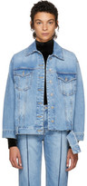 Sjyp Blue Bottom Cut Denim Jacket