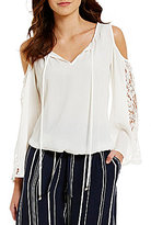 Soulmates Cold-Shoulder Split V-Neck Tie Lace Sleeve Top