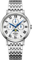 Rotary GB05325/01 Men's Windsor Day Date Month Moonphase Bracelet Strap Watch, Silver/White