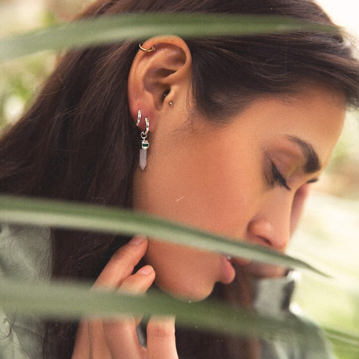 Thumbnail for your product : FEATHER AND CHAIN LONDON - Terra Amazon Silver Point Earrings