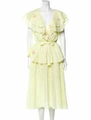 Innika Choo V-Neck Midi Length Dress Yellow