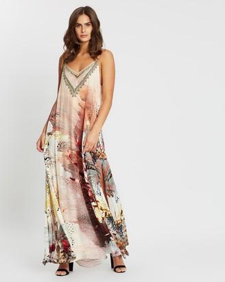 Camilla Long Dress with Sheer Underlay