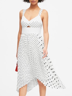 Banana Republic Petite Print Sweetheart Pleated Midi Dress