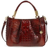 Brahmin 'Ruby' Croc Embossed Leather Satchel - Brown