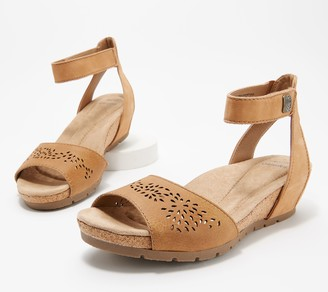 Earth Origins Leather Wedges with Ankle Strap - Kendra Krystal