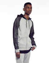 Brave Soul Zip Through Hoodie with Mesh Sleeve Detail