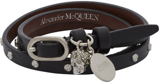 Alexander McQueen Silver and Black Wraparound Studded Bracelet