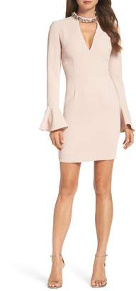 Vince Camuto Crystal Choker Bell Sleeve Sheath Dress