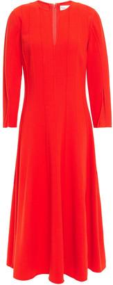 Oscar de la Renta Pintucked Wool-blend Crepe Midi Dress
