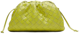 Bottega Veneta Mini Leather Woven Pouch Clutch Crossbody Bag in Kiwi & Gold | FWRD