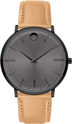 Movado Women's Ultra Slim Leather Strap Watch, 40mm