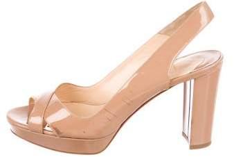 Christian Louboutin Patent Leather Peep-Toe Sandals