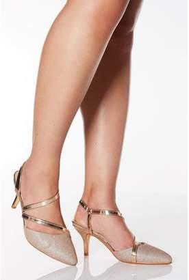 Quiz Wide Fit Rose Gold Shimmer Low Heel Court Shoes