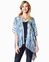 Charming charlie Boho Printed Fringed Kimono