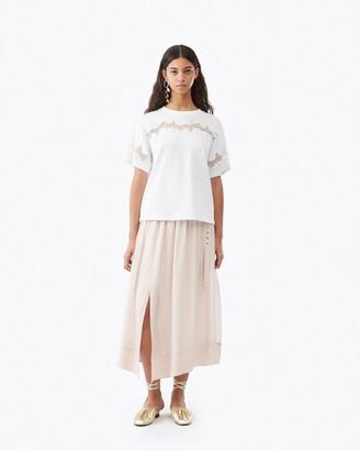 3.1 Phillip Lim Lace Insert Satin T-Shirt