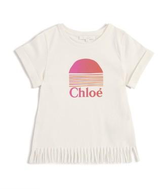 Chloé Kids Fringe-Hem Logo T-Shirt