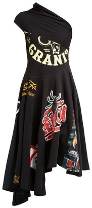Marine Serre Patchworked One Shoulder Cotton Jersey Dress - Womens - Black