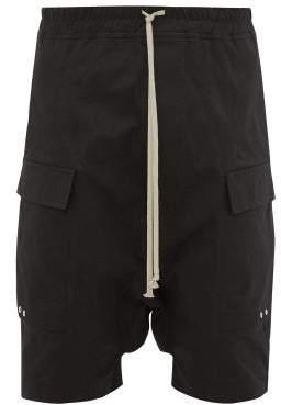 Rick Owens Pod Stretch Cotton Twill Cargo Shorts - Mens - Black