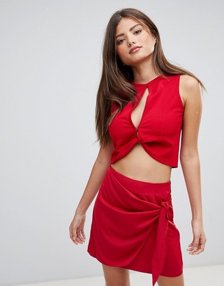 Fashion Union Crop Top With Twist Front Detail-Red