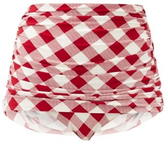 Norma Kamali Bill Ruched Gingham High-rise Bikini Briefs - Red White