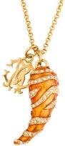 Roberto Cavalli Crystal & Enamel Horn Pendant Necklace