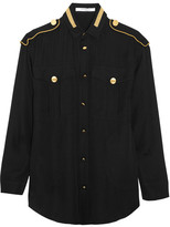 Givenchy Metallic-embroidered Blouse In Black Silk-georgette - FR34