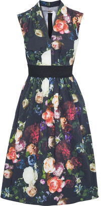 Adam Lippes Gathered Floral-print Stretch-cotton Poplin Dress
