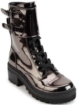 DKNY Women's Bart Lace-Up Buckled Lug Sole Booties